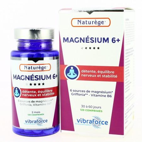 Magnésium 6+ |ULTRA ABSORPTION | Naturège VIBRA| Vitamine B6+Griffonia+Fleur de Bach+ HE Camomille - 120 comprimés - Naturège