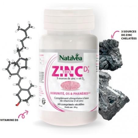 Triozinc + vitamine D - 60 Comprimés Sécables - Natavéa Laboratoire