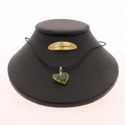 Collier pendentif forme COEUR avec inclusion de trèfle - Magnétique Vibration