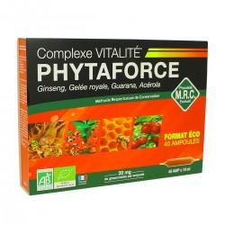Phytaforce Ginseng, gelée royale, guarana, acérola Bio - 40 Ampoules - Biotechnie